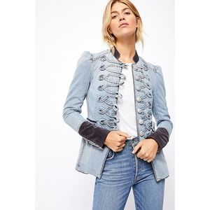 NWT Free People Denim Seamed And Structured Jacket